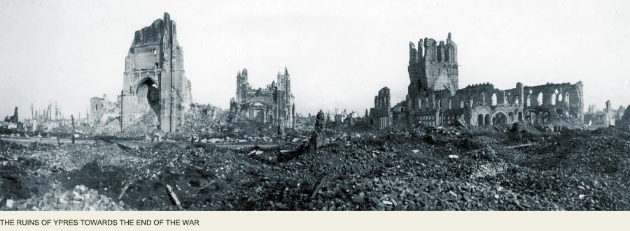 Ypres in ruins Great War, Ypres France